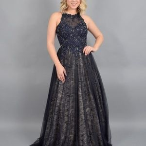 XSCAPE NEW Long Lace Embroidered Beaded Ballgown D